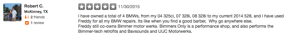 bmw repairs review mckinney tx
